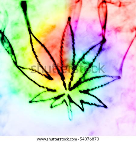 illustration of the abstract smoking marijuana