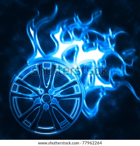 illustration of the alloy burning wheel abstract