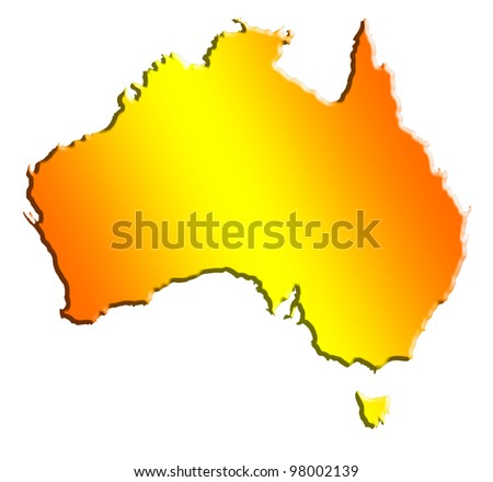 illustration of the australian continent isolated on white - stock photo