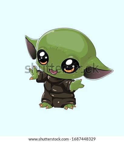Illustration of the Baby Yoda, cute, art