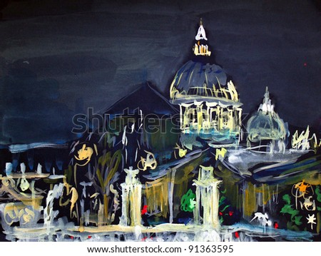 Illustration of the Basilica San Pietro and Ponte Vittorio Emanuele in the night, Vatican, Rome, Italy. I painted it in 2001.
