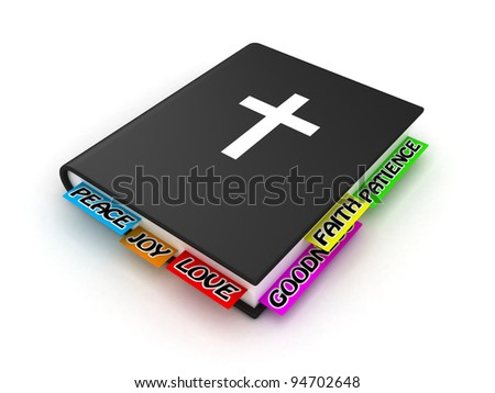 Illustration of the Bible with bookmarks on a white background