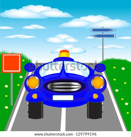 Illustration of the blue car on road.Raster version