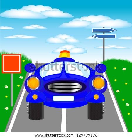 Illustration of the blue car on road.Raster version