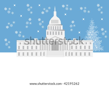 in Washington DC with falling snow and a Holiday tree - stock photo