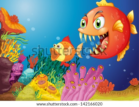 Illustration of the colorful coral reefs with two fishes #142166020