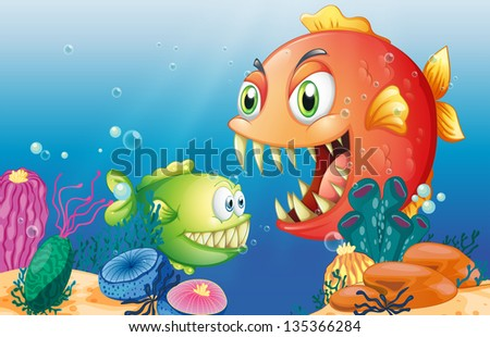 Illustration of the different sea creatures #135366284