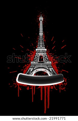 Illustration of the Eiffel tower in bloody grunge splatter style with bolted billboard for custom elements.