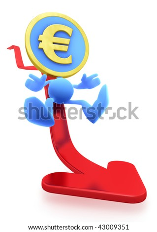 "Illustration of the Falling Euro. Euro Coin-Man sliding down on the red ""trend"" arrow. 3D rendered image"