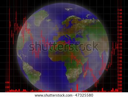 illustration of the global trading stock market chart