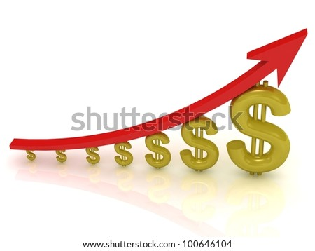 Illustration of the growth of the dollar with a red arrow on white background