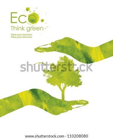 Illustration of the hand and plants on it from watercolor stains, isolated on white background. Think Green. Ecology Concept.