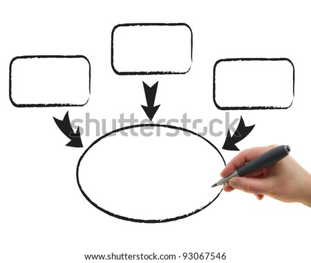 Illustration of the hand drawing graphs on the white paper background