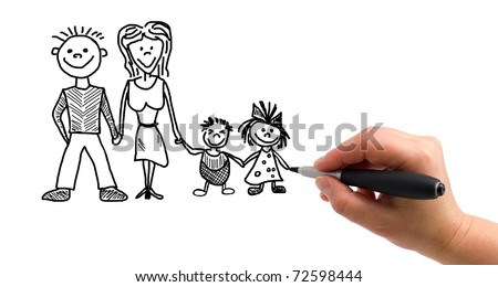 Illustration of the hand with a pen drawing family on the white paper background
