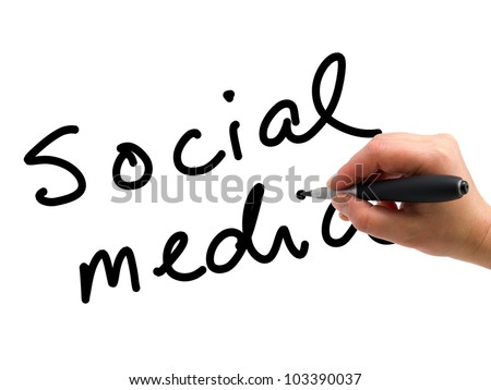 Illustration of the hand with a pen writing SOCAIL MEDIA on the white paper background