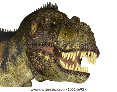 Illustration of the head of a Tyrannosaurus (dinosaur species) on a white background