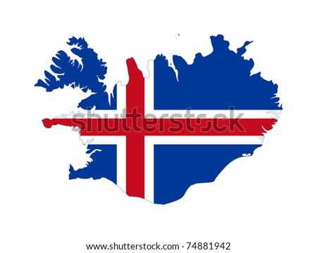 Illustration of the Iceland flag on map of country; isolated on white background.