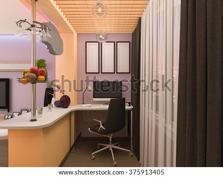 Illustration of the interior design of the living room in a modern style. Room with a large corner sofa on the background wall of the 3D panel #375913405