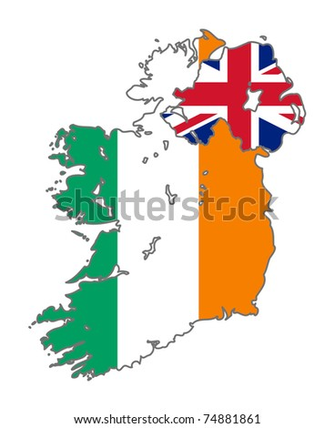 Illustration of the Ireland and Union Jack flag on map of country; isolated on white background.