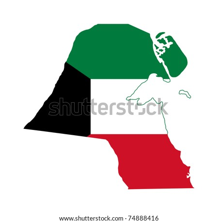 Illustration of the Kuwait flag on map of country; isolated on white background.
