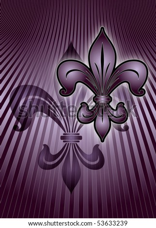 Illustration of the lily emblem in purple on a striped purple background. 3 d illustration