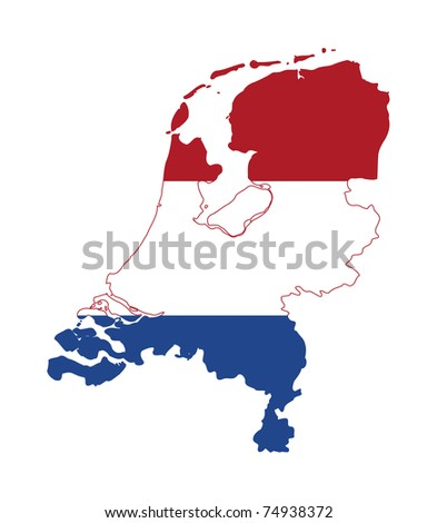 Illustration of the Netherlands flag on map of country; isolated on white background.