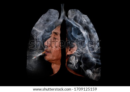 Photo of  Illustration of the old man and toxic smoke and flame fire formation shaped as the human lung, The concept of cigarette smoker lungs on black background