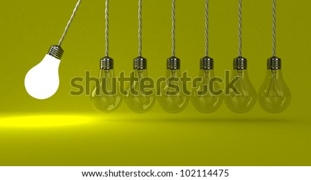 Illustration of the pendulum from lamps on a yellow background