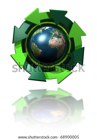 illustration of the planet earth with reciclaje symbol