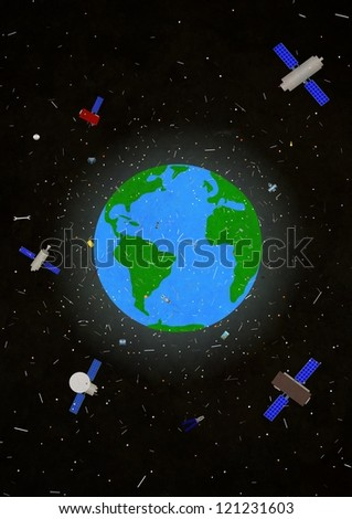 Illustration of the planet earth with space junk