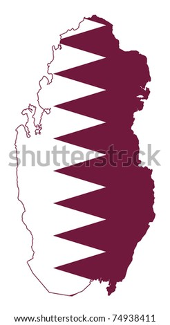 Illustration of the Qatar flag on map of country; isolated on white background.