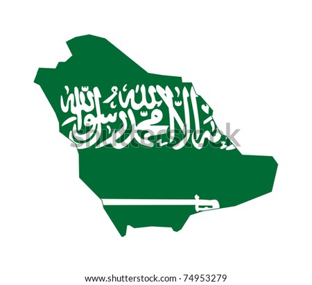 Illustration of the Saudi Arabia flag on map of country; isolated on white background.