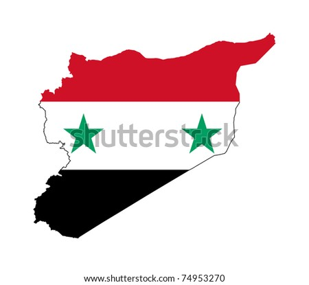 Illustration of the Syria flag on map of country; isolated on white background.