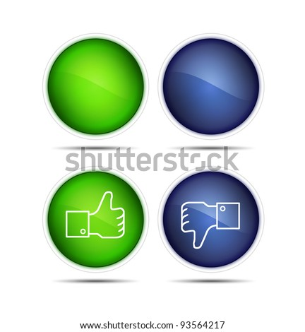 Illustration of the thumb up and thumb down icons with blank. Isolated on white.