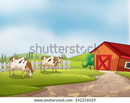Illustration of the two cows at the farm with a barn and fence