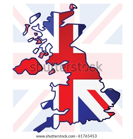 Illustration of the United Kingdom flag over a map of the UK