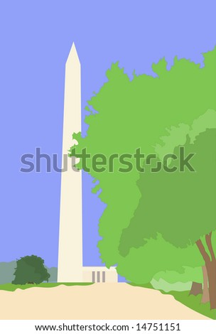 Illustration of the Washington Monument and the Lincoln memorial in washington dc