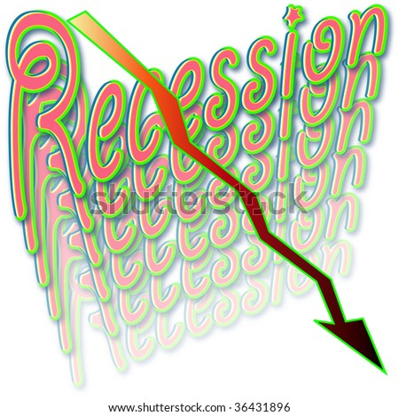 Illustration of the word 'Recession' fading away