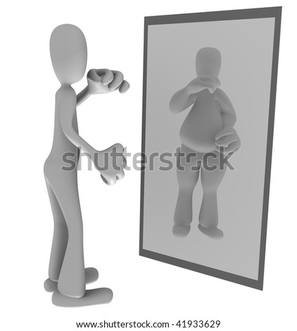 Illustration of thin person looking at fat reflection in mirror