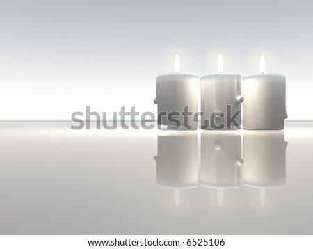 Illustration of three burning candles  - rendered in 3d