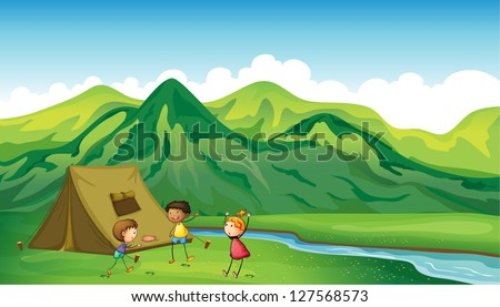 Illustration of three children playing near a camp site