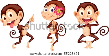 Illustration of three monkeys on white background