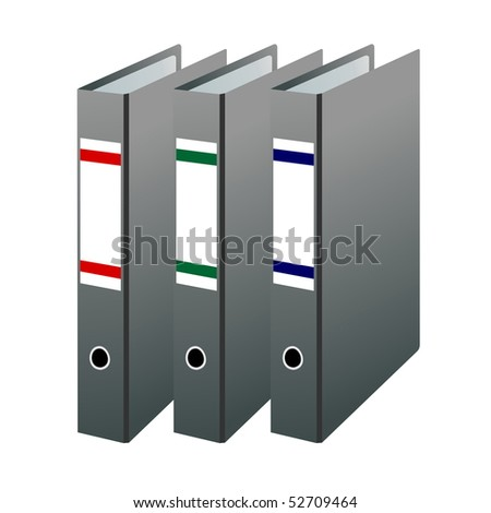Illustration of three office folders are isolated on white background - Raster