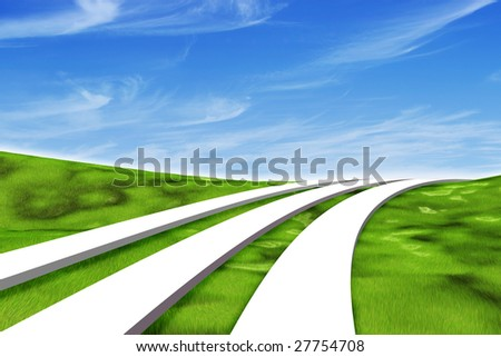 Illustration of three white paths leading across a grassy green 3d landscape under a blue sky with wispy clouds