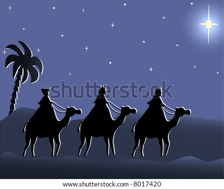 Illustration of three wisemen in the desert following the Bethlehem star in the violet night
