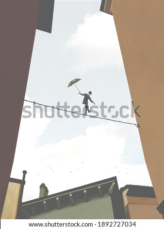 illustration of tightrope walker on a suspended wire among buildings, surreal risk concept