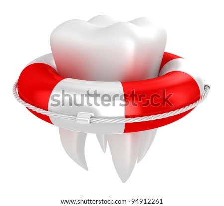 Illustration of tooth with lifebuoy on a white background - stock photo