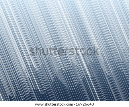 Illustration of torrential rain in a mountain landscape