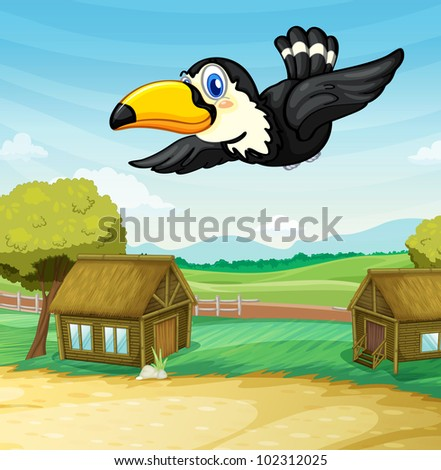 Illustration of toucan gliding through a camping ground - EPS VECTOR format also available in my portfolio.