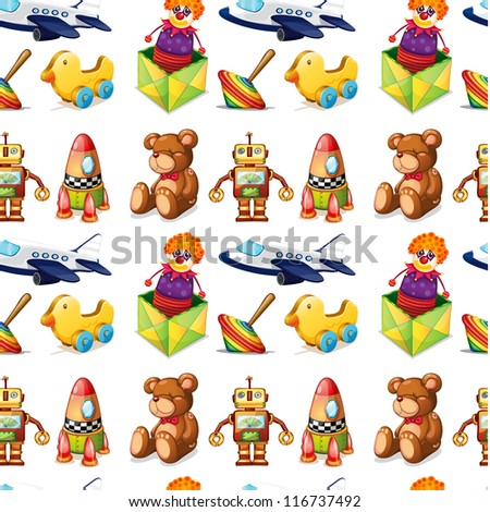 illustration of toys on a white background